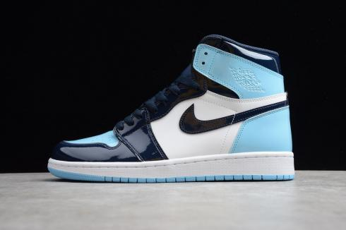 New Nike Air Jordan 1 Retro High Blue Chill UNC Patent Leather AJ1 ...