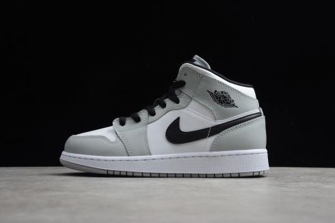 Nike Air Jordan 1 Retro Mid Light Smoke Grey Black White AJ1 Basketball Shoes 554724-092