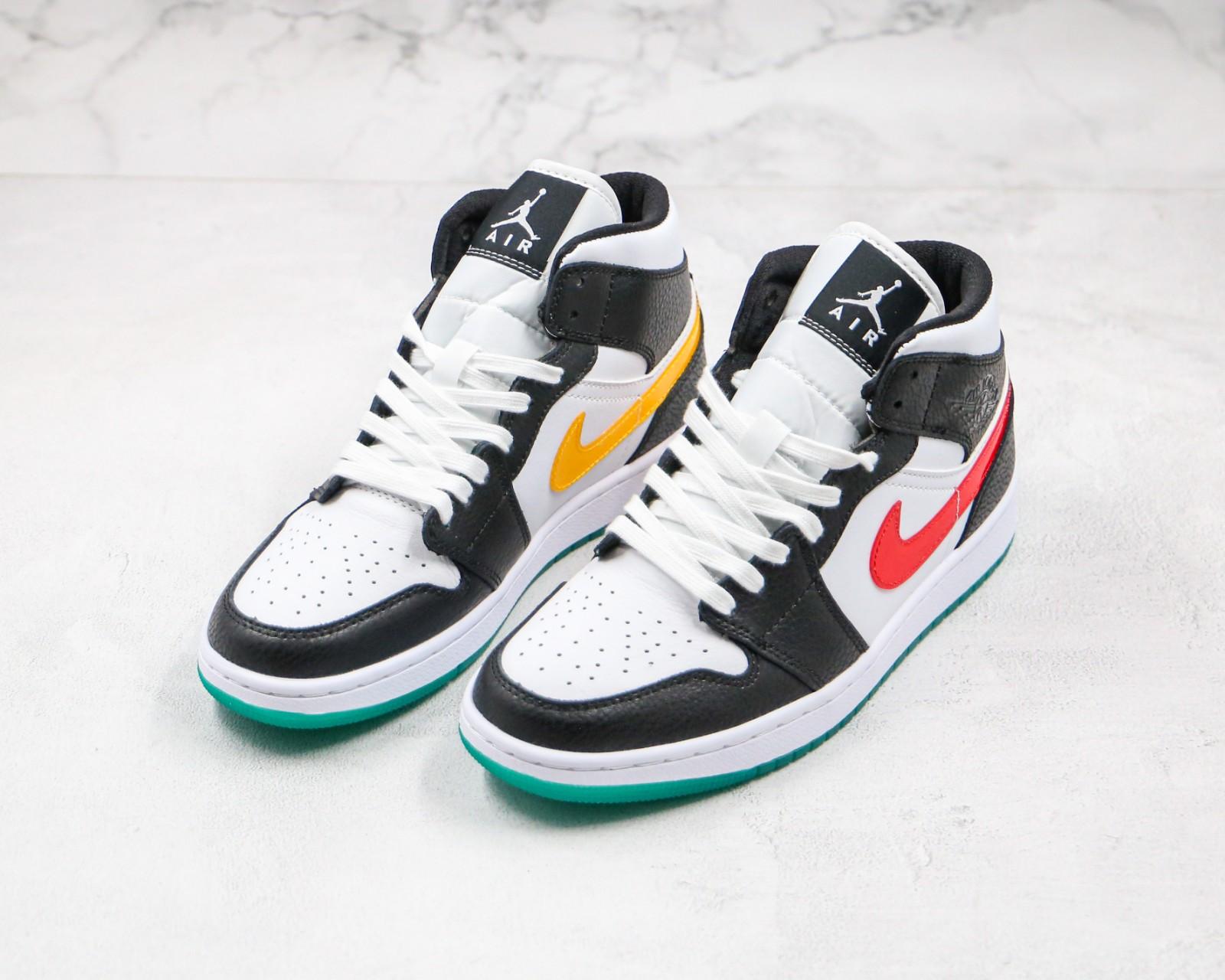 Nike Air Jordan 1 Mid Black White Red Yellow Alternate Swooshes BQ6472-063 for Sale - ReactRun